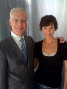 Model Paula Patrice filming with Tim Gunn